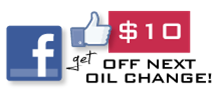 like us on Facebook, have oil change specials